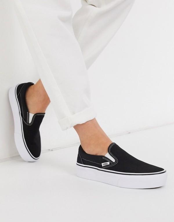バンズ レディース スニーカー シューズ Vans Classic Slip-On Platform sneaker in black Black