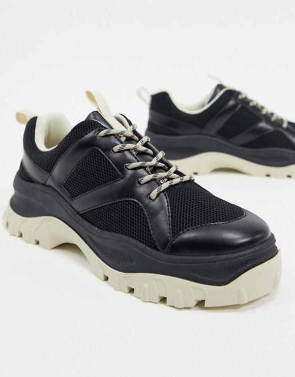 モンキ レディース スニーカー シューズ Monki contrast chunky sole mesh sneakers in black Black