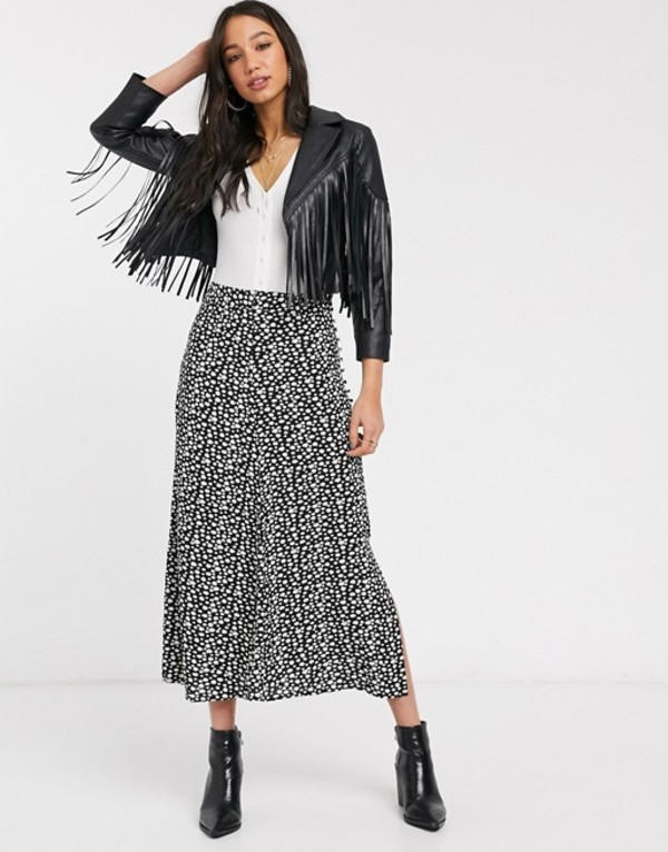 オンリー レディース スカート ボトムス Only midi skirt with side split in daisy print Black