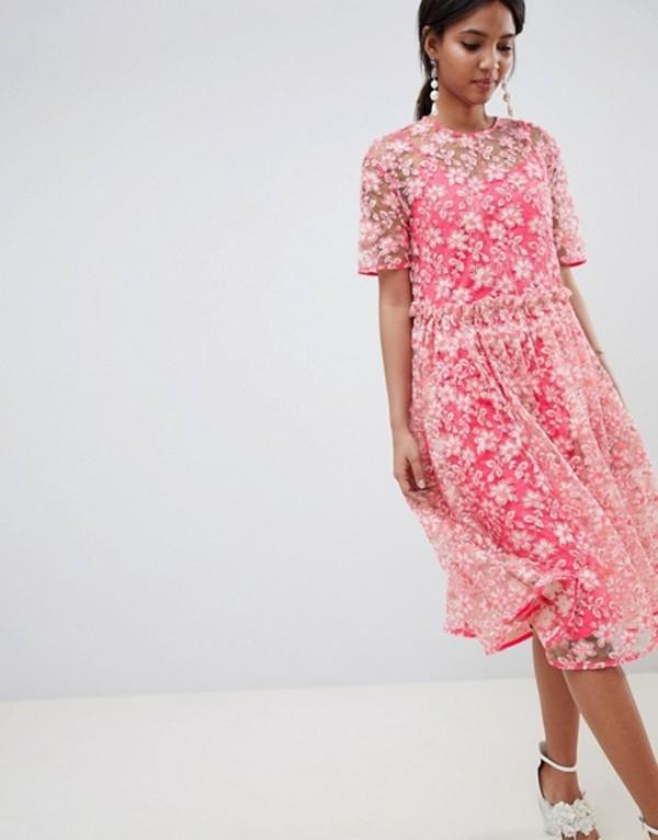 エイソス レディース ワンピース トップス ASOS EDITION floral embellished drop waist smock midi dress Pink