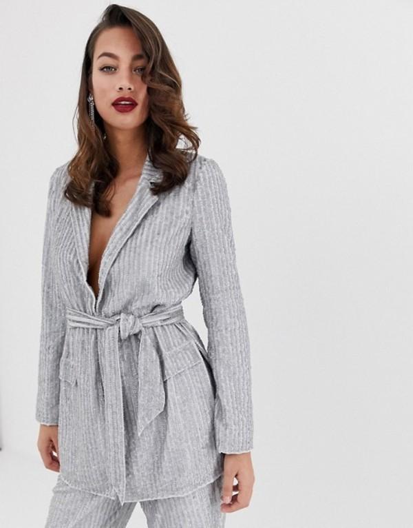 エイソス レディース ジャケット・ブルゾン アウター ASOS EDITION embellished blazer Gray