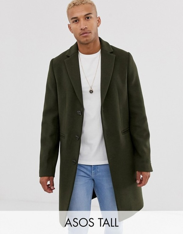 エイソス メンズ コート アウター ASOS DESIGN Tall wool mix overcoat in khaki Khaki