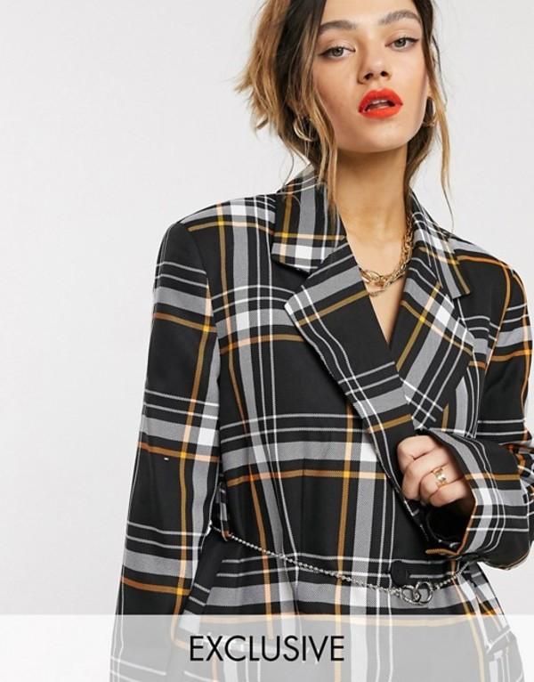 コルージョン レディース ジャケット・ブルゾン アウター COLLUSION check blazer with chain detail Black