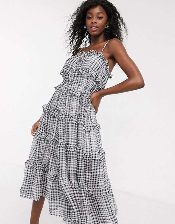 シーメロコレクティブ レディース ワンピース トップス C/Meo Collective Stealing Sunshine tiered ruffle check midi dress in black check Black check