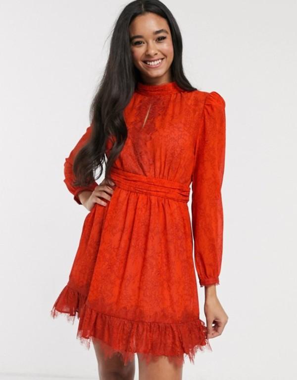 フレンチコネクション レディース ワンピース トップス French Connection lace printed mini skater dress Poppy red