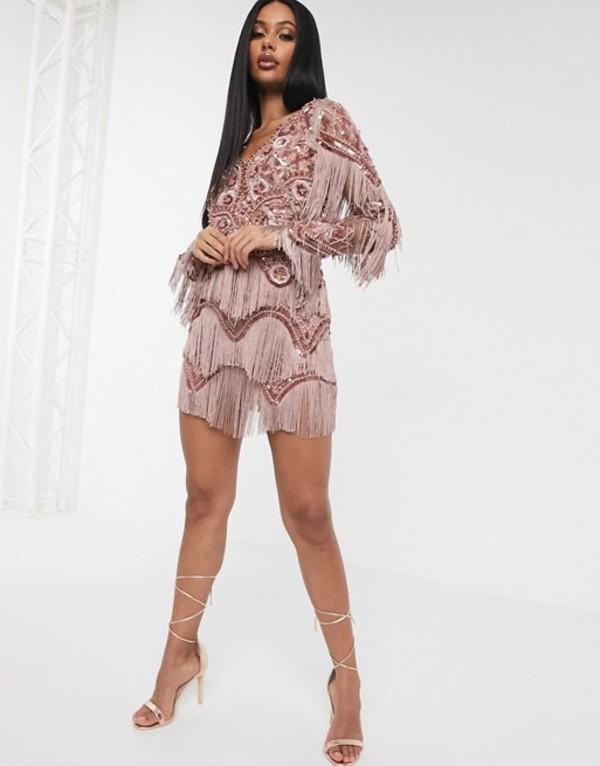 エースターイズボーン レディース ワンピース トップス A Star Is Born exclusive embellished tassel mini dress with plunge front in mink Mink