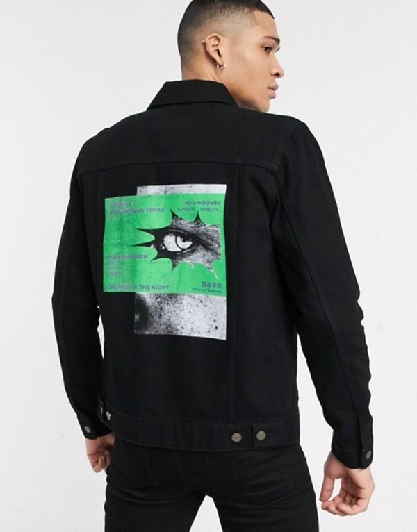 エイソス メンズ ジャケット・ブルゾン アウター ASOS DESIGN denim jacket in black with back print Black