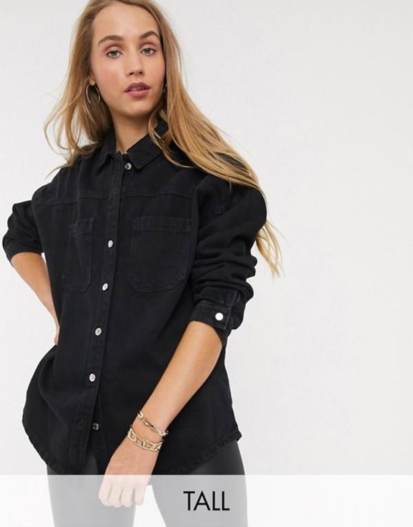ニュールック レディース スカート ボトムス New Look Tall boxy denim shirt in black Black