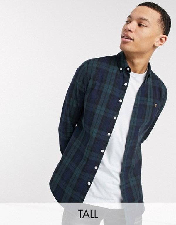 ファーラー メンズ シャツ トップス Farah Brewer slim fit check shirt in blackwatch Gillepsie green