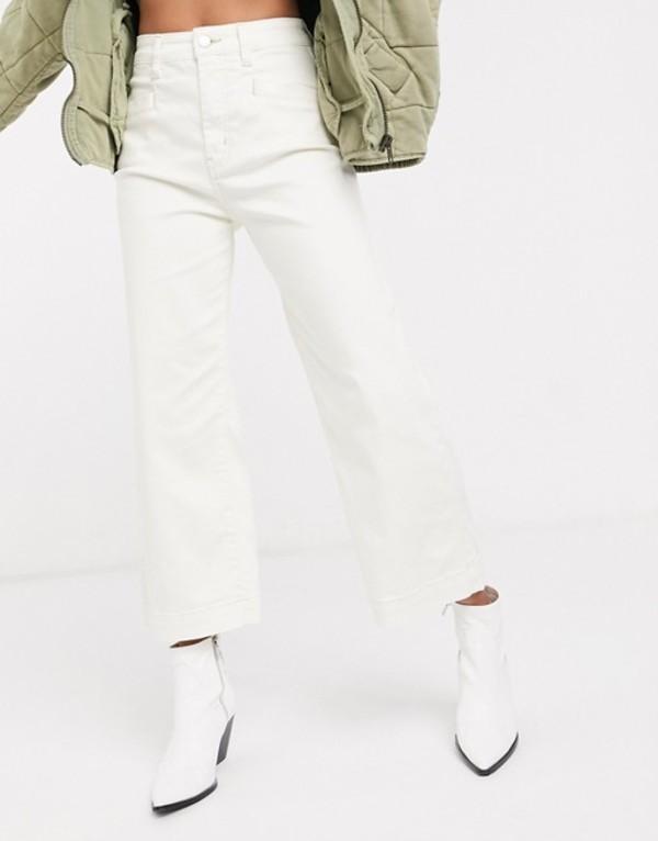 フリーピープル レディース デニムパンツ ボトムス Free People Curvy crop straight leg jeans Ivory
