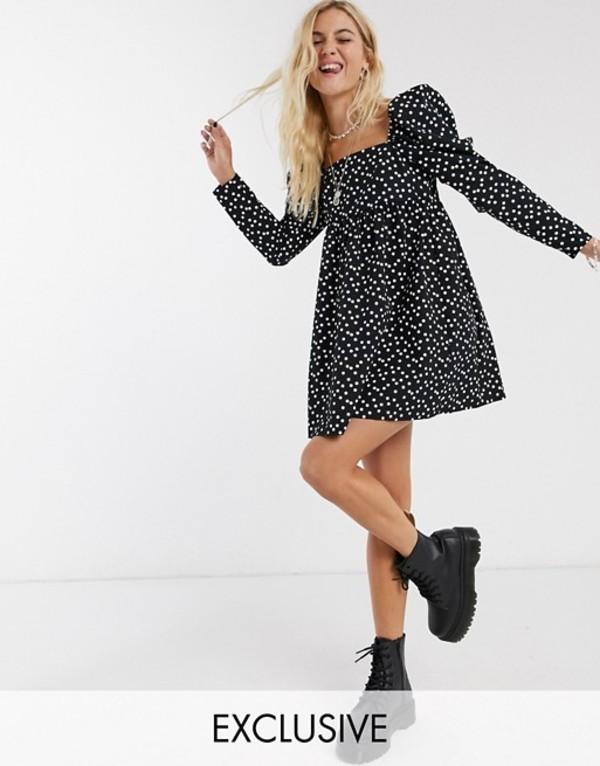リクレイム ヴィンテージ レディース ワンピース トップス Reclaimed Vintage inspired cotton smock dress with polka dot in black Black