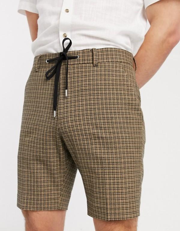 エイソス メンズ ハーフパンツ・ショーツ ボトムス ASOS DESIGN skinny smart shorts in tan check with drawcord waist Stone