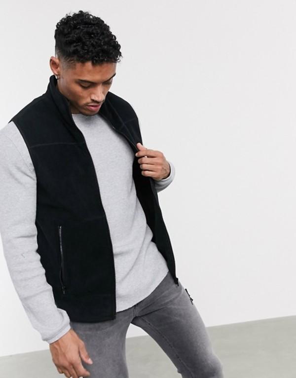 エイソス メンズ タンクトップ トップス ASOS DESIGN polar fleece vest in black Black