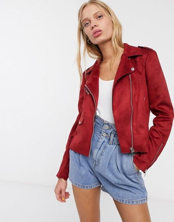 オンリー レディース ジャケット・ブルゾン アウター Only Sherry faux suede biker jacket Merlot