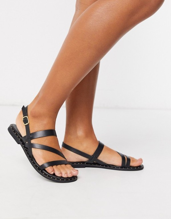 ウエアハウス レディース サンダル シューズ Warehouse mutlistrap studded leather sandals in black Black