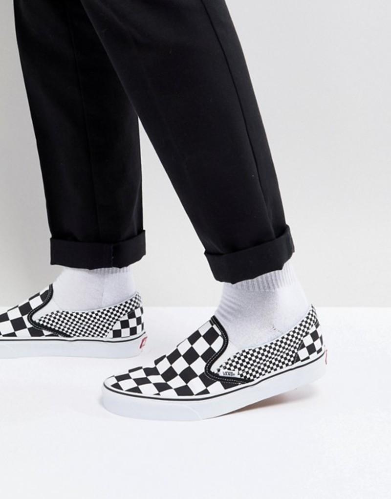 バンズ メンズ スニーカー シューズ Vans Classic Checkerboard Slip-Ons In Black VA38F7Q9B Black