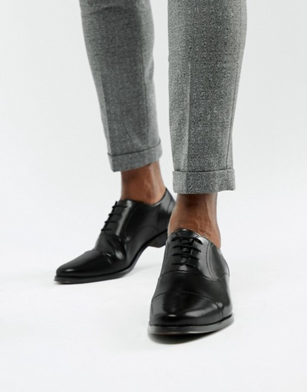 エイソス メンズ オックスフォード シューズ ASOS DESIGN oxford shoes in black leather with toe cap Black