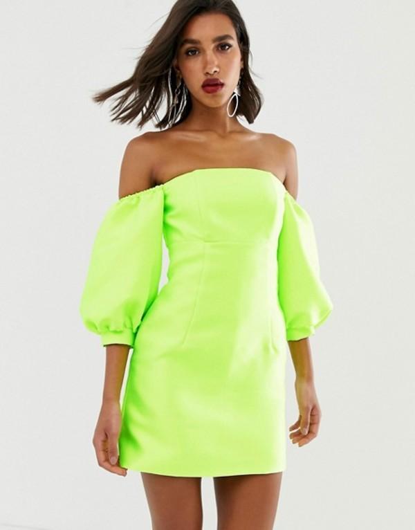 エイソス レディース ワンピース トップス ASOS EDITION puff sleeve off shoulder mini dress Neon green