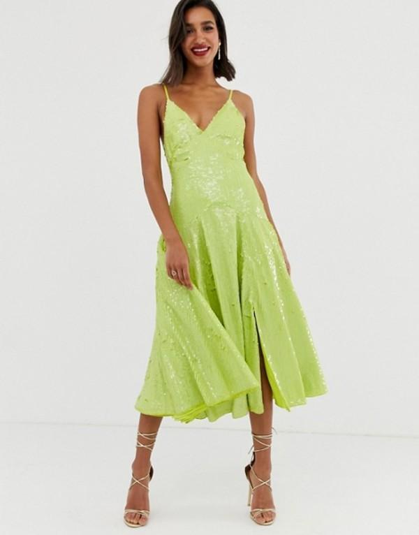 エイソス レディース ワンピース トップス ASOS EDITION cami split front sequin midi dress Neon green