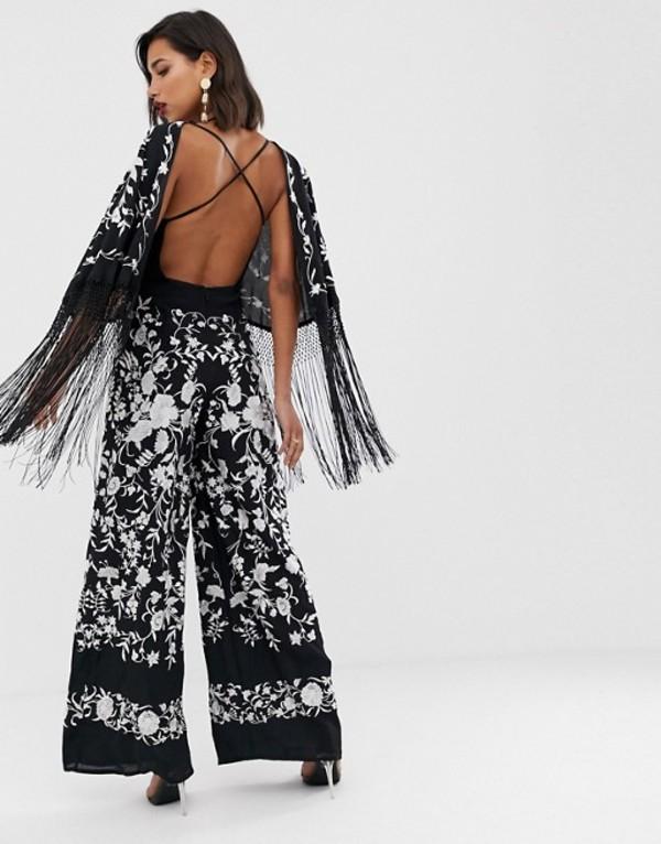 エイソス レディース ワンピース トップス ASOS EDITION embroidered jumpsuit with fringe Black