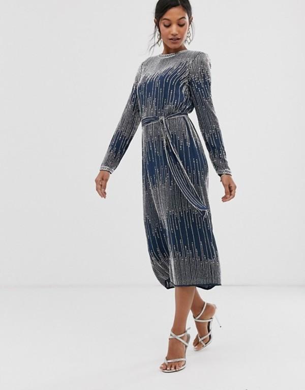 エイソス レディース ワンピース トップス ASOS EDITION linear beaded midi dress Petrol blue