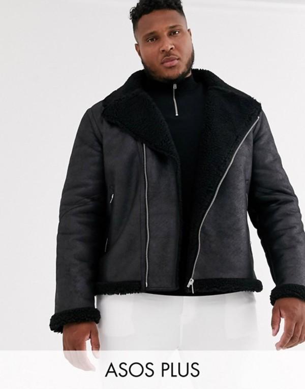 エイソス メンズ ジャケット・ブルゾン アウター ASOS DESIGN Plus faux shearling biker jacket with teddy lining in black Black
