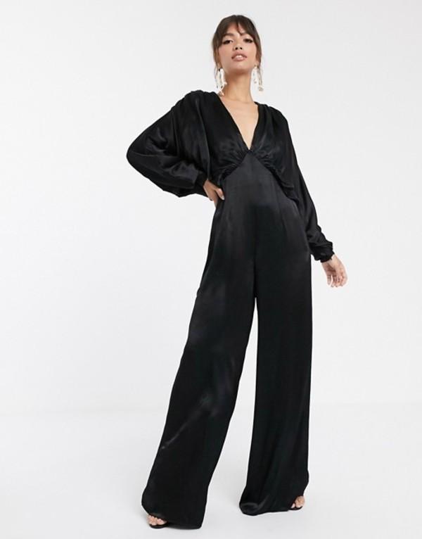 エイソス レディース ワンピース トップス ASOS EDITION ruched batwing satin jumpsuit Black
