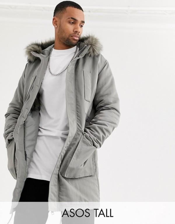 エイソス メンズ コート アウター ASOS DESIGN Tall parka jacket in gray with faux fur lining Gray