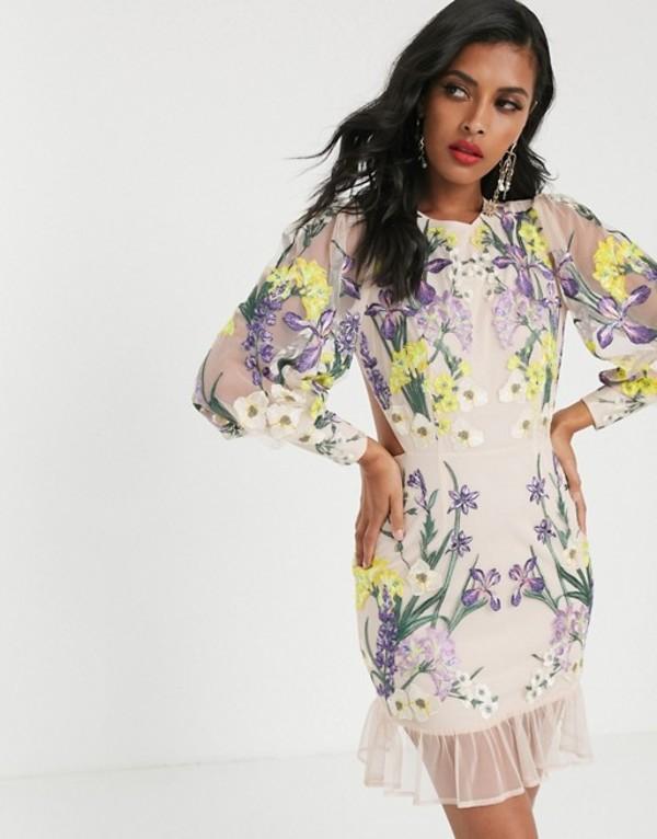 エイソス レディース ワンピース トップス ASOS EDITION blouson sleeve floral embroidered mini dress Multi