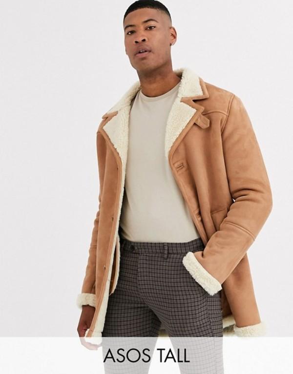 エイソス メンズ ジャケット・ブルゾン アウター ASOS DESIGN Tall jacket in faux suede tan with ecru teddy lining Tan