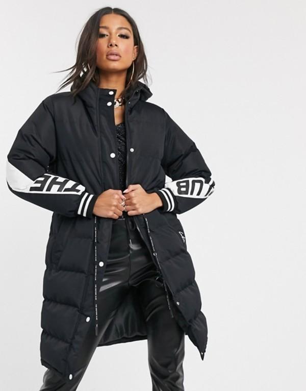 ザ クチュール クラブ レディース コート アウター The Couture Club contrast panel longline padded jacket in black Black