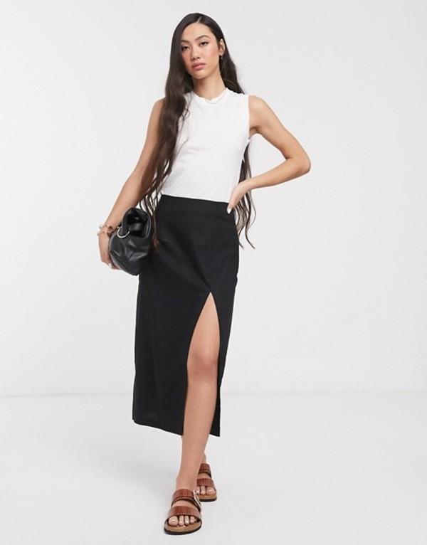 エイソス レディース スカート ボトムス ASOS DESIGN linen split front midi skirt Black