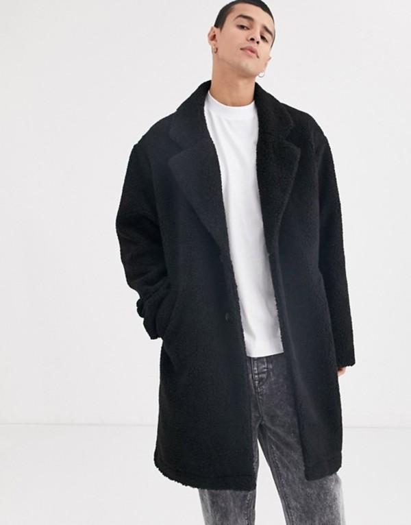 コルージョン メンズ コート アウター COLLUSION teddy overcoat in black Black