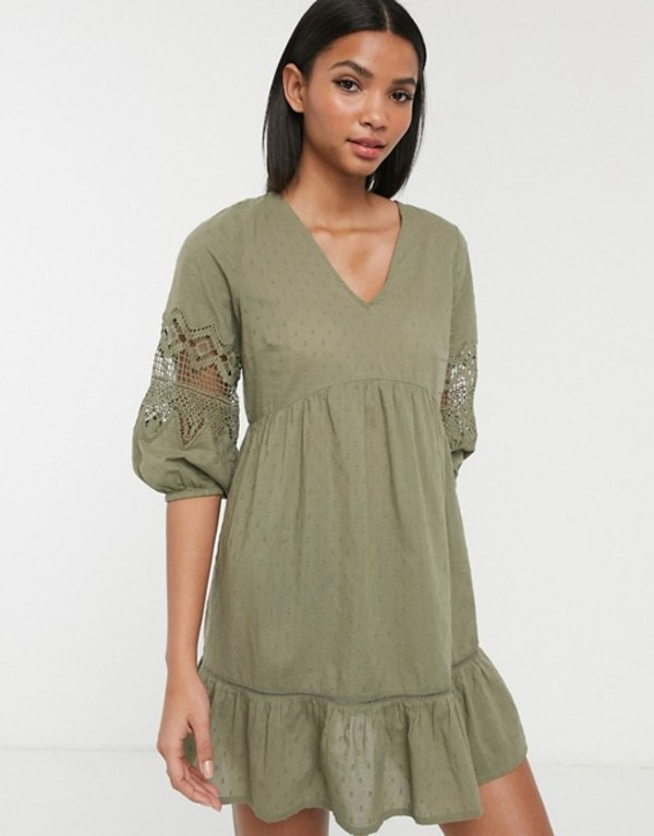 アクセサライズ レディース ワンピース トップス Accessorize mini beach dress with sleeve dealing in khaki Khaki
