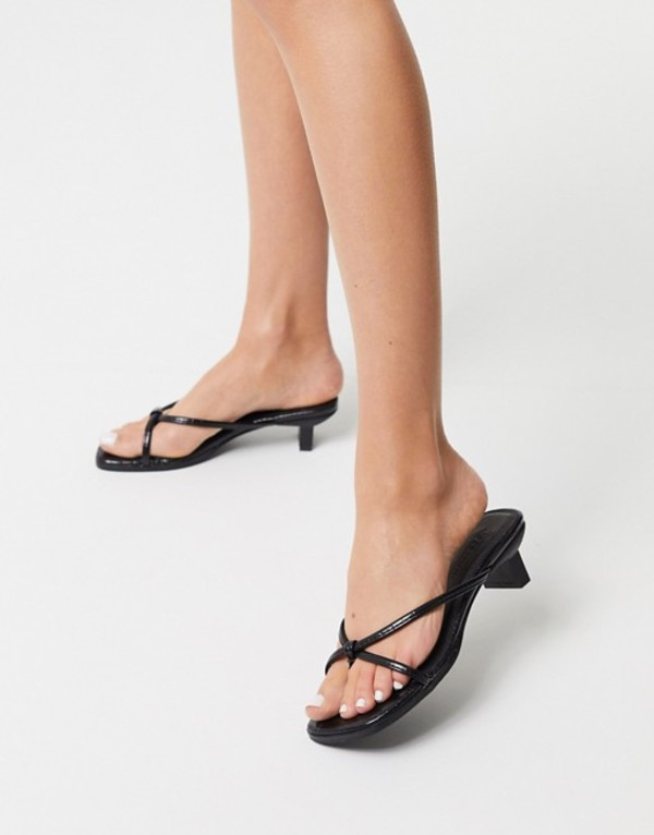 エイソス レディース サンダル シューズ ASOS DESIGN Hvar flip flop kitten mid-heeled sandals in black croc Black croc