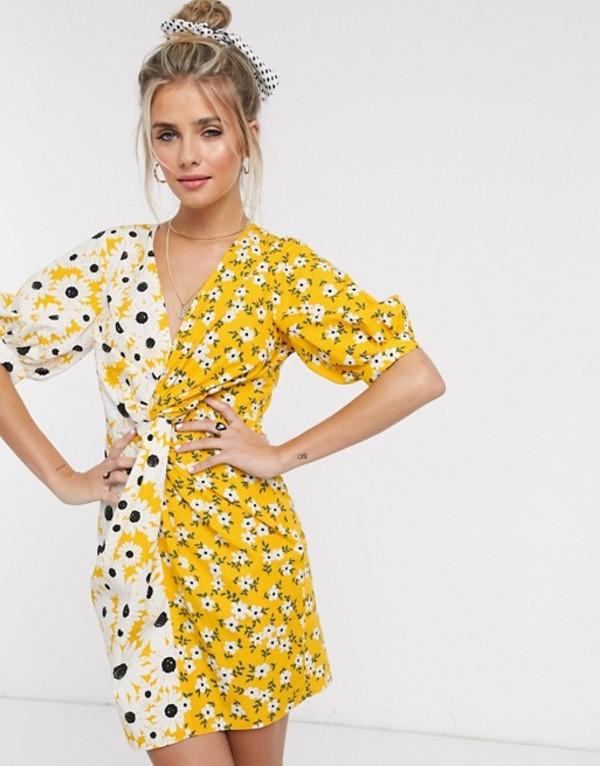 エイソス レディース ワンピース トップス ASOS DESIGN cotton poplin twist mini dress with puff sleeves in mixed daisy floral print Yellow based floral