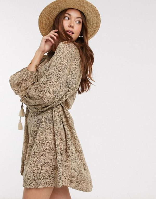 ホイッスルズ レディース ワンピース トップス Whistles mini leopard print button front beach mini dress in brown Brwn/multi