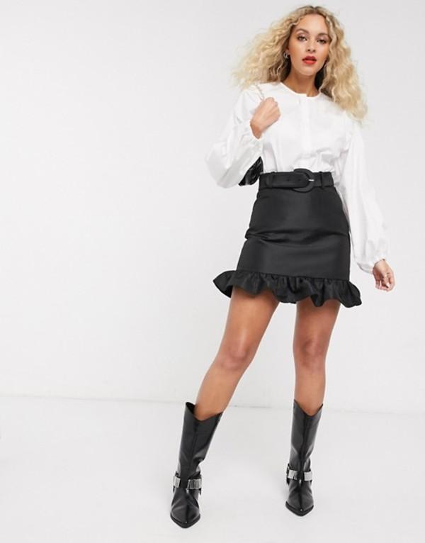 アンドアザーストーリーズ レディース スカート ボトムス & Other Stories belt detail frill-edge mini skirt in black Black