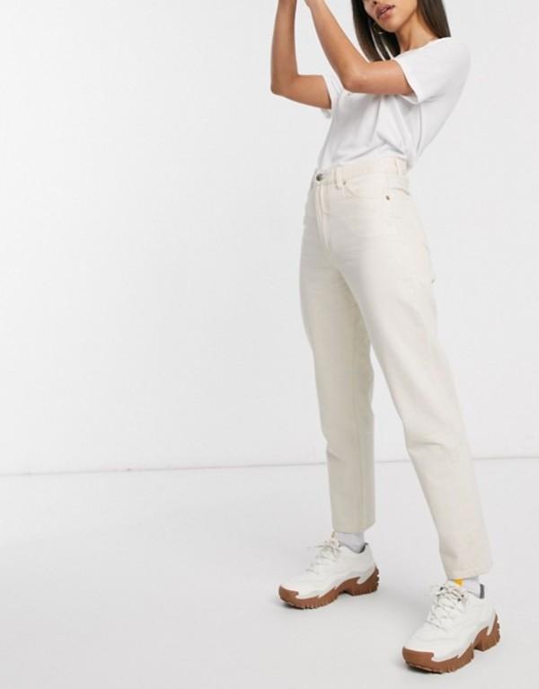 モンキ レディース デニムパンツ ボトムス Monki Taiki high waist mom jeans with organic cotton in ecru White