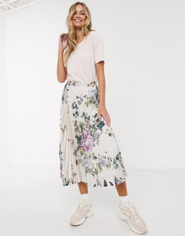 オアシス レディース スカート ボトムス Oasis floral print satin midi skirt in cream Multi natural