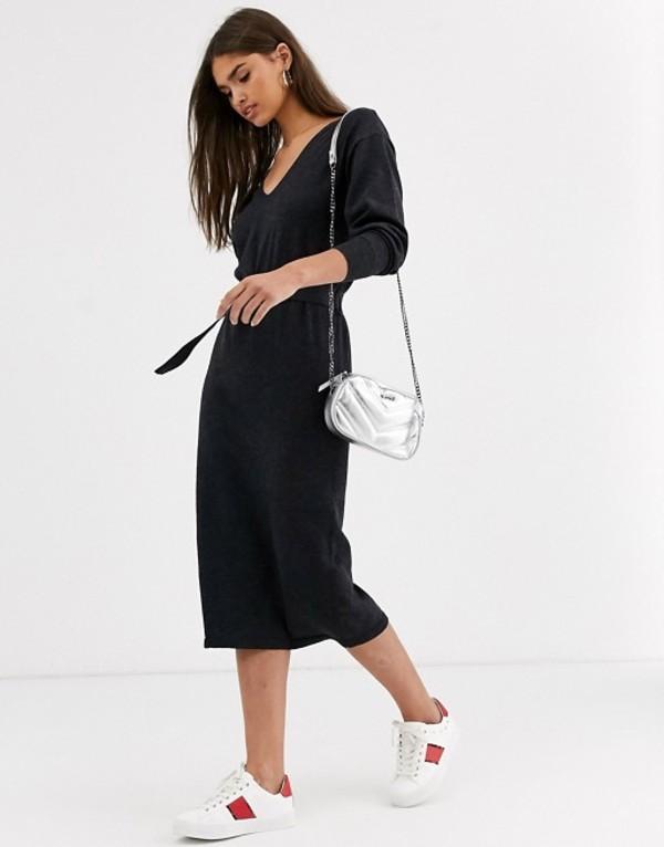 ミチャラウンジ レディース ワンピース トップス Micha Lounge Luxe knitted dress with resin belt in wool blend Gray
