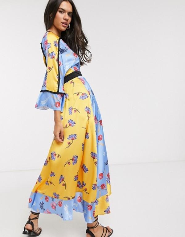リクオリッシュ レディース ワンピース トップス Liquorish wrap front maxi dress in mixed floral print Blue floral