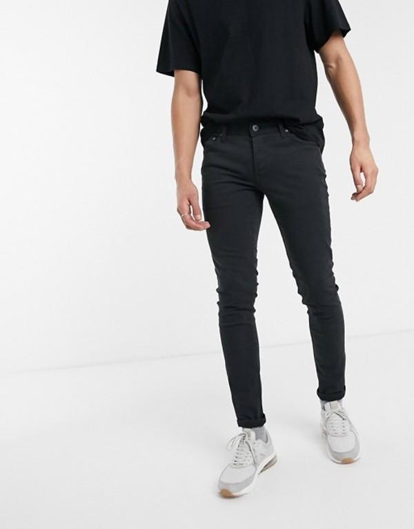 ジャック アンド ジョーンズ メンズ カジュアルパンツ ボトムス Jack & Jones Intelligence skinny fit 5 pocket pants in black Black
