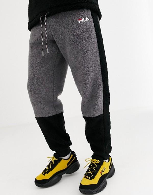 フィラ メンズ カジュアルパンツ ボトムス Fila Camillo sherpa jogger in black Black