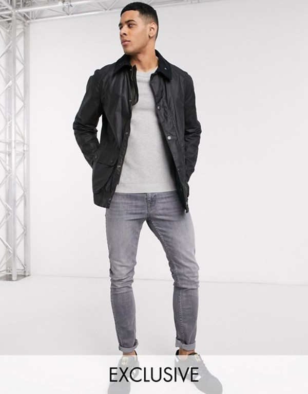 バーブァー メンズ ジャケット・ブルゾン アウター Barbour Beacon Morgan jacket in black Exclusive at ASOS Black