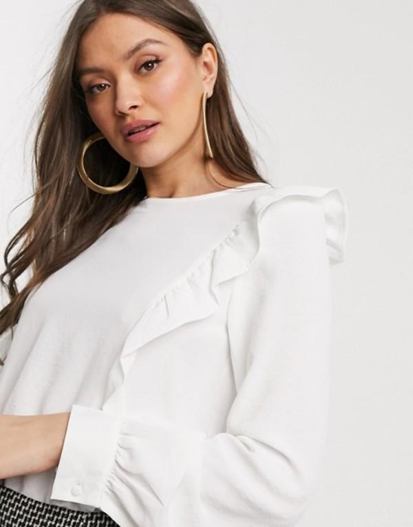ウエアハウス レディース シャツ トップス Warehouse blouse with frills in ivory Ivory