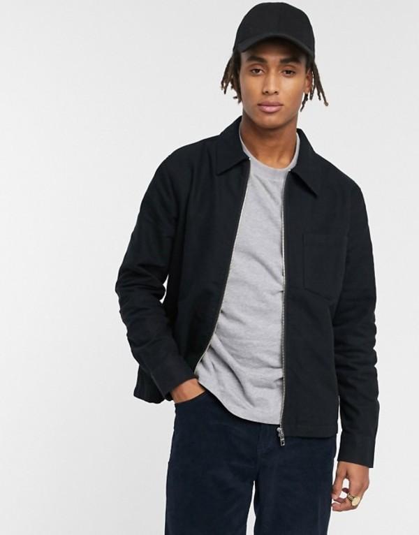 ウィークデイ メンズ ジャケット・ブルゾン アウター Weekday Ahmed flannel zip jacket in black Black