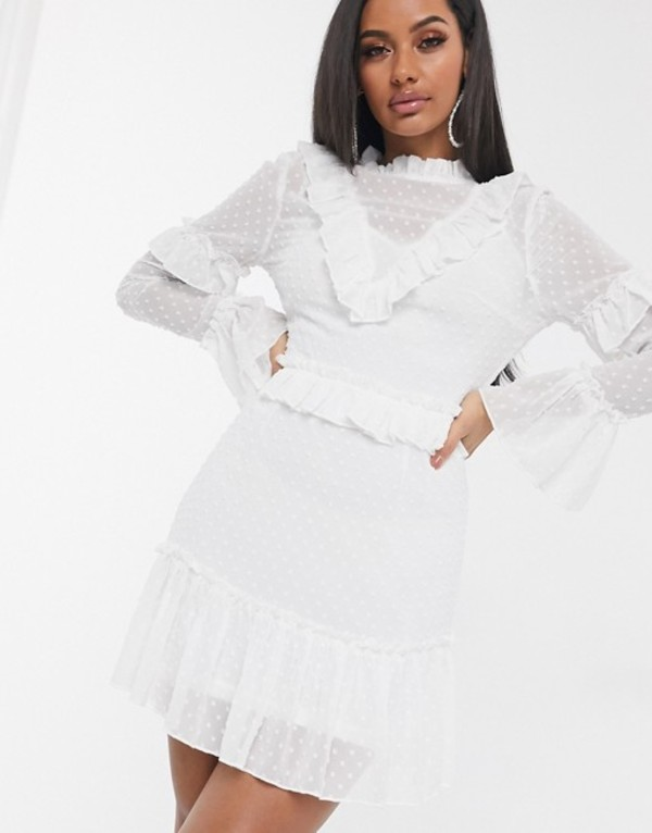 ミスガイデッド レディース ワンピース トップス Missguided high neck dobby mesh dress in white with ruffle detail White