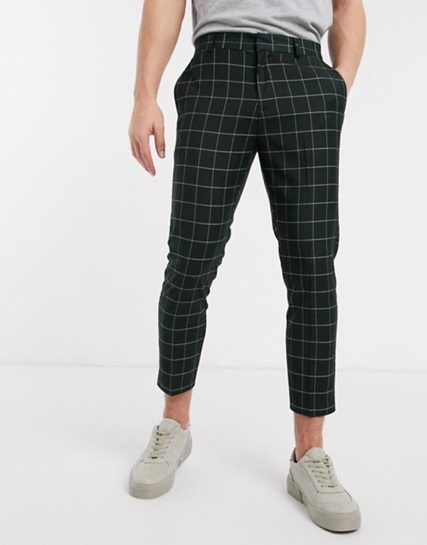 ニュールック メンズ カジュアルパンツ ボトムス New Look grid check skinny crop pants in dark green Dark green