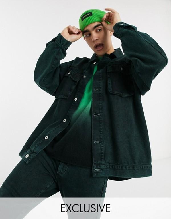 コルージョン メンズ ジャケット・ブルゾン アウター COLLUSION oversized denim jacket in green Green